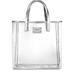 Michael Kors Clear/silver Lizard Print Tote Bag